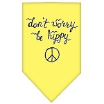 Be Hippy Screen Print Bandana Yellow Small