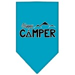 Happy Camper Screen Print Bandana Turquoise Small