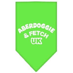 Aberdoggie UK Screen Print Bandana Lime Green Small