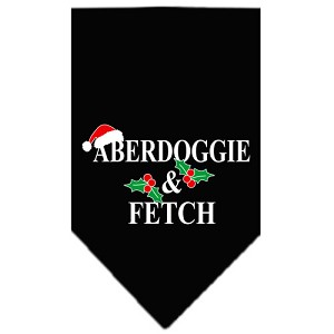 Aberdoggie Christmas Screen Print Bandana Black Large