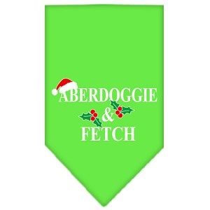 Aberdoggie Christmas Screen Print Bandana Lime Green Large