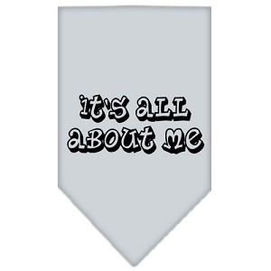 It's All About Me Screen Print Bandana Grey Small