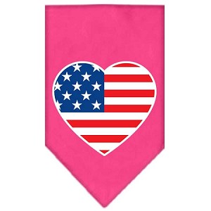 American Flag Heart Screen Print Bandana Bright Pink Small