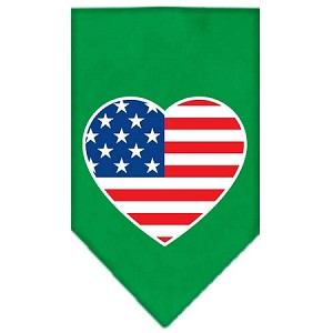 American Flag Heart Screen Print Bandana Emerald Green Small