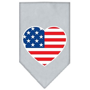 American Flag Heart Screen Print Bandana Grey Large