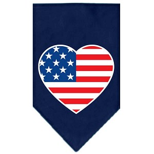 American Flag Heart Screen Print Bandana Navy Blue Small