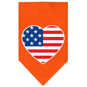 American Flag Heart Screen Print Bandana Orange Small