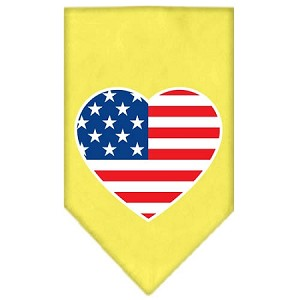 American Flag Heart Screen Print Bandana Yellow Large