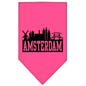Amsterdam Skyline Screen Print Bandana Bright Pink Small