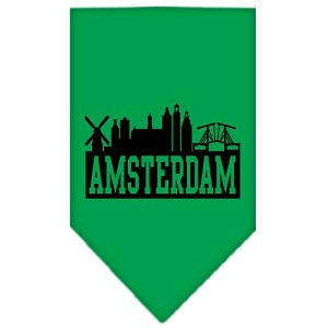 Amsterdam Skyline Screen Print Bandana Emerald Green Small