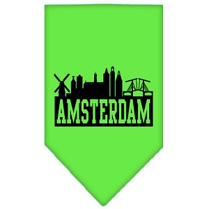 Amsterdam Skyline Screen Print Bandana Lime Green Large
