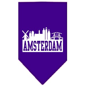 Amsterdam Skyline Screen Print Bandana Purple Small