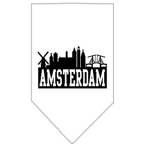 Amsterdam Skyline Screen Print Bandana White Small