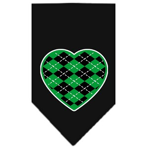 Argyle Heart Green Screen Print Bandana Black Small