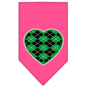 Argyle Heart Green Screen Print Bandana Bright Pink Large