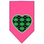 Argyle Heart Green Screen Print Bandana Bright Pink Small