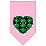 Argyle Heart Green Screen Print Bandana Light Pink Small