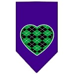 Argyle Heart Green Screen Print Bandana Purple Small