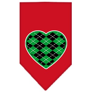 Argyle Heart Green Screen Print Bandana Red Large