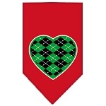 Argyle Heart Green Screen Print Bandana Red Small