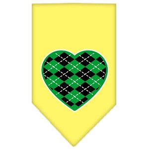 Argyle Heart Green Screen Print Bandana Yellow Large