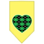 Argyle Heart Green Screen Print Bandana Yellow Small