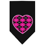 Argyle Heart Pink Screen Print Bandana Black Small