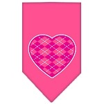 Argyle Heart Pink Screen Print Bandana Bright Pink Small