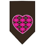 Argyle Heart Pink Screen Print Bandana Cocoa Small