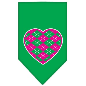Argyle Heart Pink Screen Print Bandana Emerald Green Small