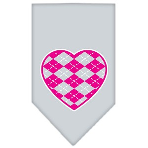 Argyle Heart Pink Screen Print Bandana Grey Large