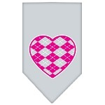Argyle Heart Pink Screen Print Bandana Grey Small