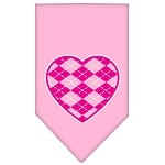 Argyle Heart Pink Screen Print Bandana Light Pink Small