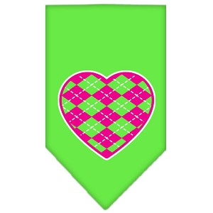 Argyle Heart Pink Screen Print Bandana Lime Green Large