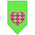 Argyle Heart Pink Screen Print Bandana Lime Green Small