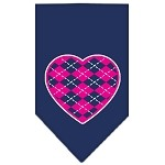 Argyle Heart Pink Screen Print Bandana Navy Blue Small