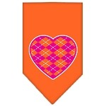 Argyle Heart Pink Screen Print Bandana Orange Small
