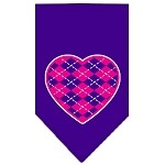 Argyle Heart Pink Screen Print Bandana Purple Small