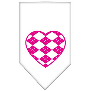Argyle Heart Pink Screen Print Bandana White Large