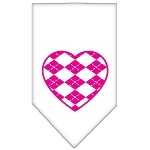 Argyle Heart Pink Screen Print Bandana White Small