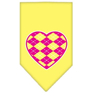 Argyle Heart Pink Screen Print Bandana Yellow Large