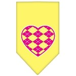 Argyle Heart Pink Screen Print Bandana Yellow Small