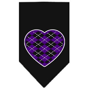 Argyle Heart Purple Screen Print Bandana Black Large