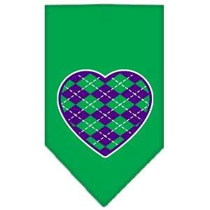 Argyle Heart Purple Screen Print Bandana Emerald Green Large
