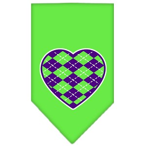Argyle Heart Purple Screen Print Bandana Lime Green Small