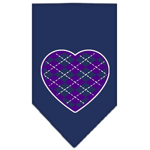 Argyle Heart Purple Screen Print Bandana Navy Blue large