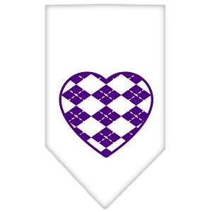 Argyle Heart Purple Screen Print Bandana White Small