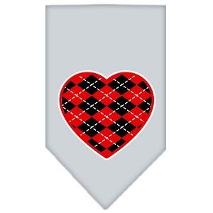 Argyle Heart Red Screen Print Bandana Grey Large