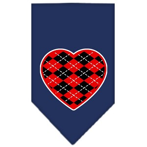 Argyle Heart Red Screen Print Bandana Navy Blue Small