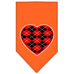 Argyle Heart Red Screen Print Bandana Orange Large